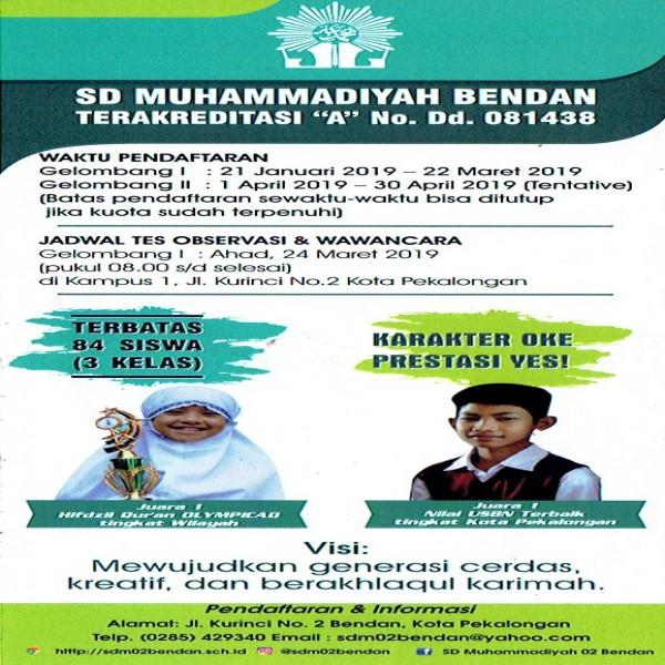 Penerimaan Peserta Didik Baru (PPDB) 2019 SD Muhammadiyah 02 Bendan